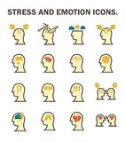 Stress emotion icon. Stress and emotion vector icons sets design Stock Image
