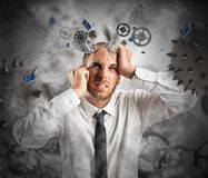 Stress explosion. Concept with exhausted businessman stock photo