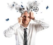 Stress explosion. Concept with exhausted businessman Royalty Free Stock Photos