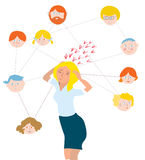 Stress about family members - illustration Royalty Free Stock Image