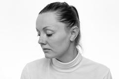 stress Feche acima do retrato de uma mulher triste imagem de stock