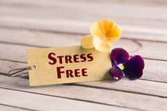 Stress free tag. Tag banner stress free and violet flower on wooden desk Royalty Free Stock Photography
