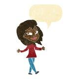 Stress free woman cartoon with speech bubble Royalty Free Stock Photo