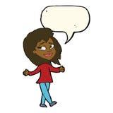 Stress free woman cartoon with speech bubble Stock Photos