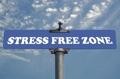 Stress free zone road sign. Real photo shoot stock images