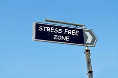 Stress free zone written on blue road sign Stock Images