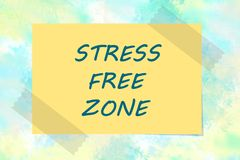 Stress free zone written on yellow note Stock Photos