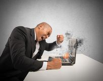 Stress and frustration caused by a computer. Concept of stress and frustration caused by a computer Stock Images