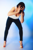 Stress frustration. woman frustrated pulling her hair. Royalty Free Stock Images