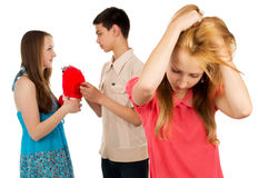 Stress, girl saw treason guy Stock Photography