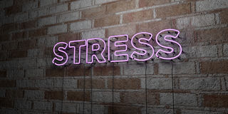 STRESS - Glowing Neon Sign on stonework wall - 3D rendered royalty free stock illustration Stock Photo