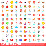 100 stress icons set, cartoon style. 100 stress icons set in cartoon style for any design vector illustration Royalty Free Stock Photo