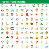 100 stress icons set, cartoon style. 100 stress icons set in cartoon style for any design vector illustration Royalty Free Stock Image