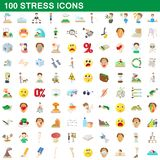 100 stress icons set, cartoon style. 100 stress icons set in cartoon style for any design illustration vector illustration