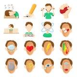Stress icons set, cartoon style Royalty Free Stock Photography