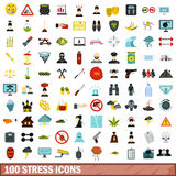 100 stress icons set, flat style Royalty Free Stock Photography