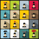 Stress icons set in flat style Royalty Free Stock Photography