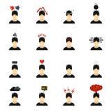Stress icons set, flat style Royalty Free Stock Photography