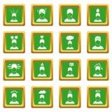 Stress icons set green Royalty Free Stock Image