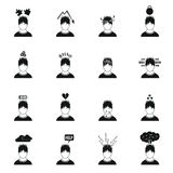 Stress icons set in simple style Royalty Free Stock Photo