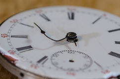 Stress of Impending Deadline Visible on Vintage Pocket Watch. Stress of Impending Deadline Visible on the Face of a Vintage Pocket Watch Royalty Free Stock Image