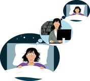 Stress and insomnia vicious circle. Woman lying in bed sleepless, thinking of work, where she`s thinking of night rest, EPS 8 vector illustration Royalty Free Stock Photos