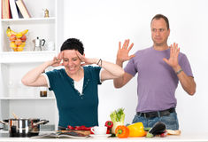 Stress in the kitchen Stock Images