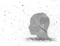 Stress in life abstract 3D illustration with shattered face silhouette. Stressed person abstract 3D illustration with shattered face silhouette Royalty Free Stock Photos