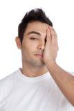 Stress Man Covering Face Royalty Free Stock Photos