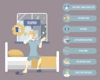 Stress man lying on bed, health care sleeplessness disorder insomnia infographic concept. Vector illustration cartoon flat character design clip art royalty free illustration