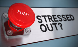 Stress Management Concept. Stressed out text with urgency push button with blur effect, Concept for stress management Royalty Free Stock Photo