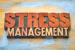 Stress management word abstract in wood type Stock Photo