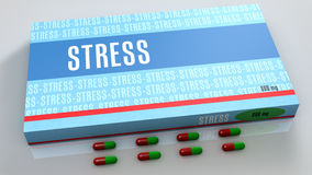 Stress medication. Box and capsules Royalty Free Stock Photography