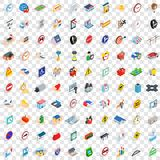 100 stress megapolis icons set, isometric 3d style Stock Images