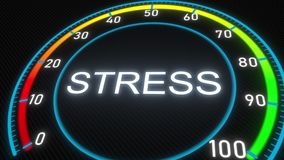 Stress meter or indicator. 3D rendering. Futuristic meter conceptual 3D animation royalty free illustration