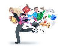 Stress Mother Running Late with Kids Royalty Free Stock Image
