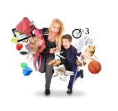 Stress Mother Running Late with Kids on White Stock Photos