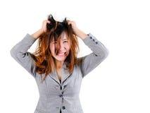 stress A mulher forçada está indo louca fotos de stock royalty free