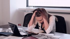 Depressed girls in the office. The stress of office worker at Desk office stock video