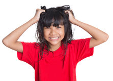 Stress Out Young Asian Girl I. Stressed out young Asian girl over white background Royalty Free Stock Photo