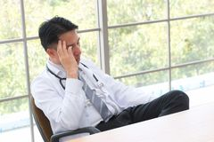 Stress people health problem concept : pain face headache person. In office ,selective focus Stock Photography