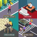 Stress People Isometric Concept Royalty Free Stock Photos