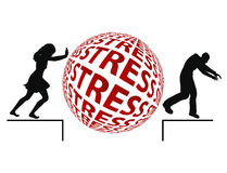 Stress Reduction. Young woman reduces stress by chasing away her partner vector illustration