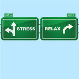 Stress and relax. Concept illustration showing highway road signs with exist to stress and relax situations Royalty Free Stock Images