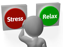 Stress Relax Buttons Show Stressed Or Relaxed Royalty Free Stock Images