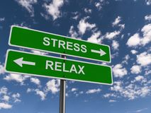 Stress and relax road signs. Stress and relax road sign with arrows pointing in opposite directions, blue sky and cloudscape background Stock Photo