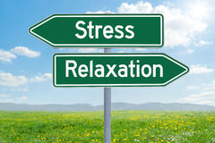 Stress or Relaxation. Two green direction signs - Stress or Relaxation Royalty Free Stock Photography