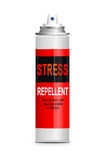 Stress relief concept. Illustration depicting a single aerosol spray can with the words 'stress repellent'. White background Royalty Free Stock Photos