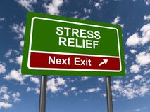 Stress relief sign. A stress relief sign on a green signboard and the sky in the background royalty free stock photography