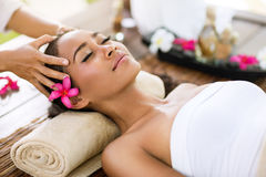 Stress removing. Spa treatment  massage of head like stress removing Stock Image